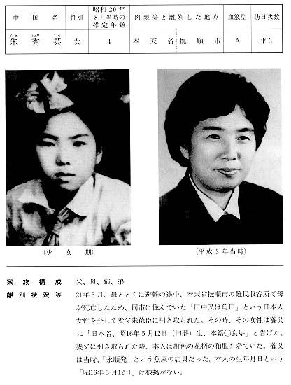 中国残留日本人孤児公開名簿 平3 朱 秀英